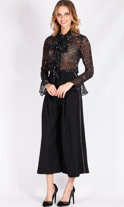 YW1807SS Wide Leg Pant With Side Diamonte Trim (Pack) New Arrival