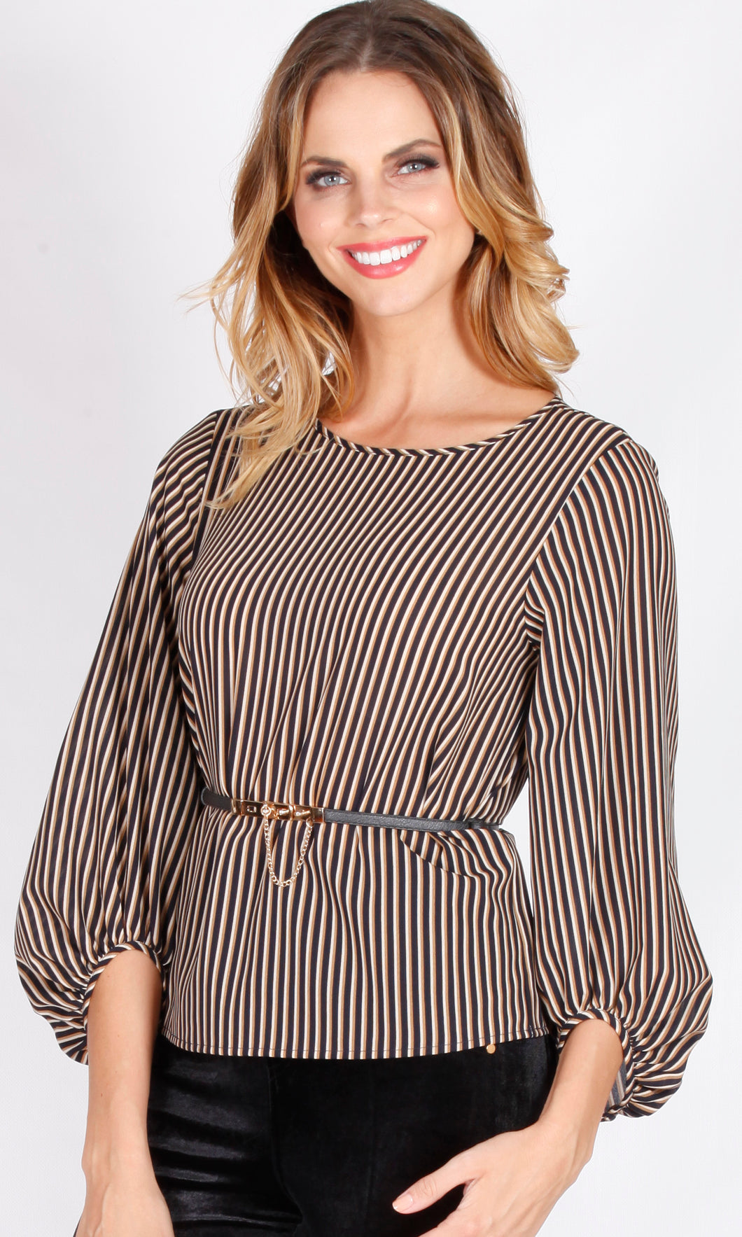 WW0017-1SS Pinstripe Balloon Sleeve Top (Pack)