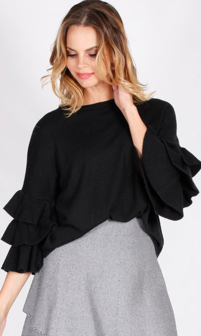 F2640SS Double Ruffle Sleeve Sweater (Pack) New Arrival