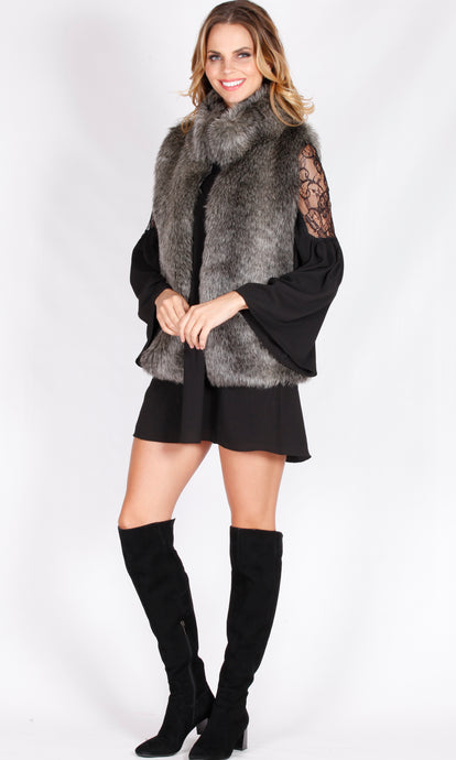 ZW169SS High Collar Faux Fur Vest (Pack) New Arrival
