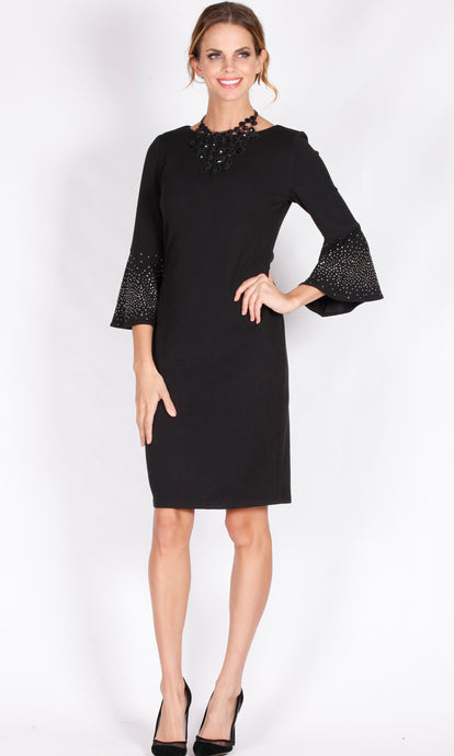 WW0074NC Diamonte Embellished Long Sleeve Dress (Pack) New Arrival
