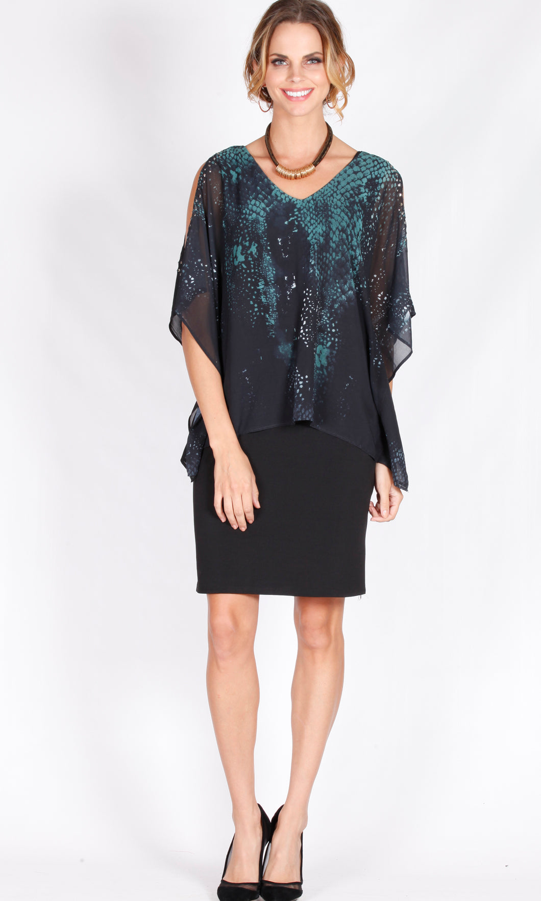 VS7117-6NC Cold Shoulder Chiffon Overlay Diamond Dress (Pack)