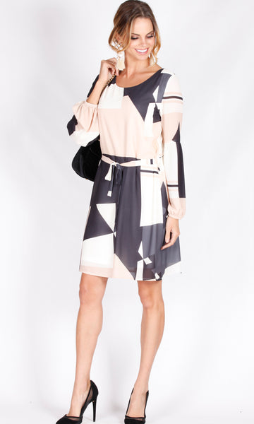 HW16084TB Geometric Ballon Sleeve Dress (Pack)