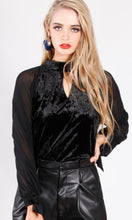 YW1869SS Chiffon Sleeves Choker Velvet Top (Pack)