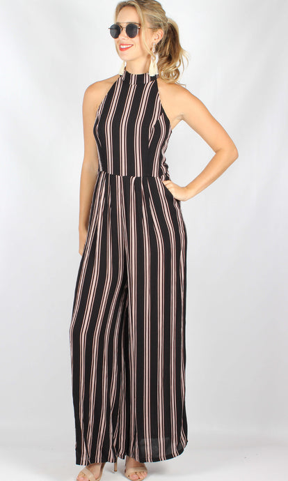 RV1183-1SS Pinstripe Wide Leg Jumpsuit (Pack) New Arrival
