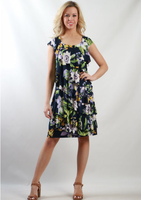 BS31616-206TB Navy Floral Ruffle Teired Dress (Pack) New Arrival