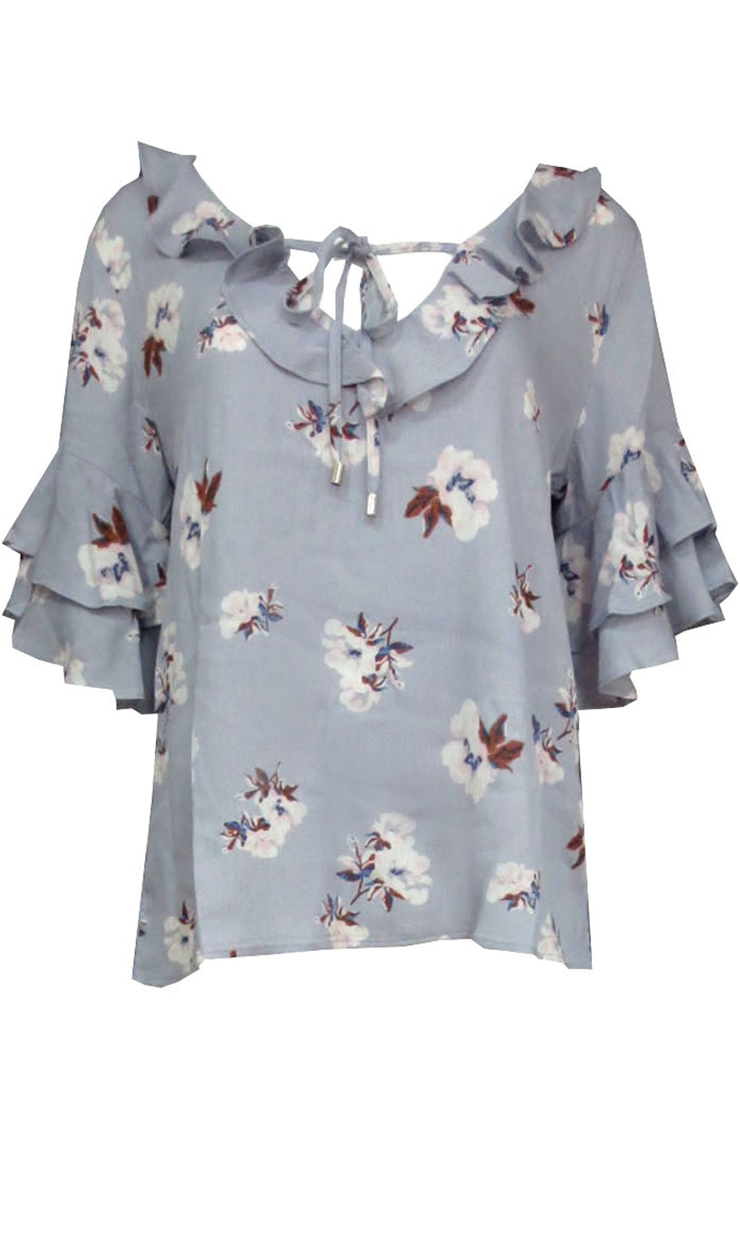 RC0807SS Double Ruffle 3/4 Sleeve Floral Top