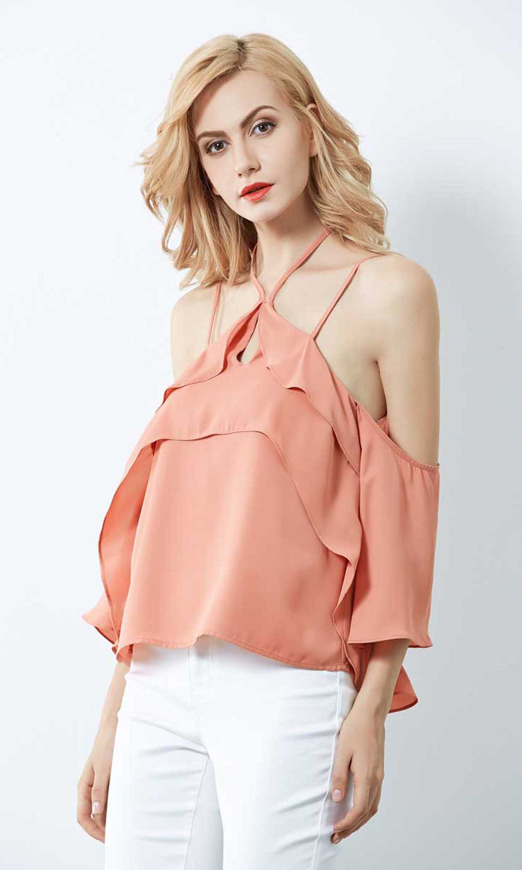 RV0276SS Ruffle Dusty Coral Cold-Shoulder Top (Pack) On Sale