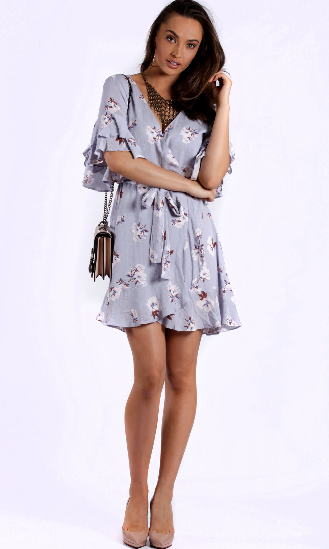 RV1096SS 3/4 Sleeve Lavender Ruffle Wrap Dress (Pack)