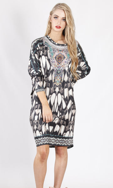 HS6002-16SS Feather Printed Long Sleeve Tunic (Pack) New Arrival