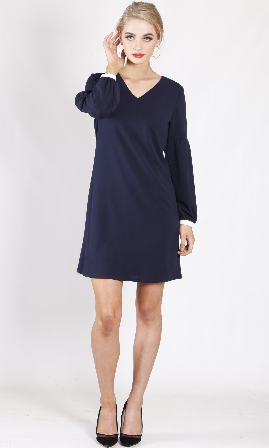 WA0174TB Balloon Sleeve Shift Dress (Pack)