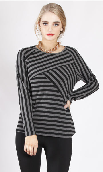 AS0211-2NC Striped Print Long Sleeve Basic (Pack) New Arrival