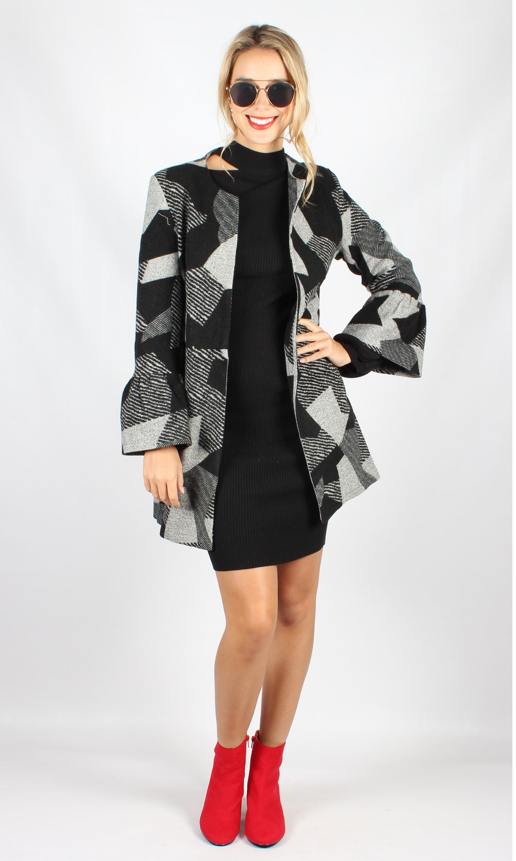 VS7336-1TB V-Neck Colour-Block Coat (Pack)