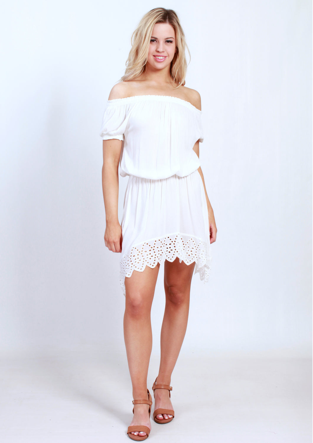 S001SS Off Shoulder White Dress (Pack)