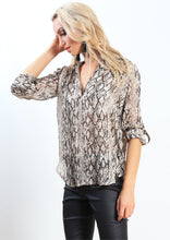 HS13021-178SS Snake Print Johnny Collar Top (Pack) New Arrivals