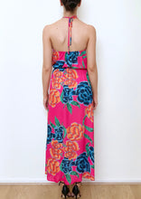 VY0399SS Hot Pink Floral Halter Maxi (Pack)