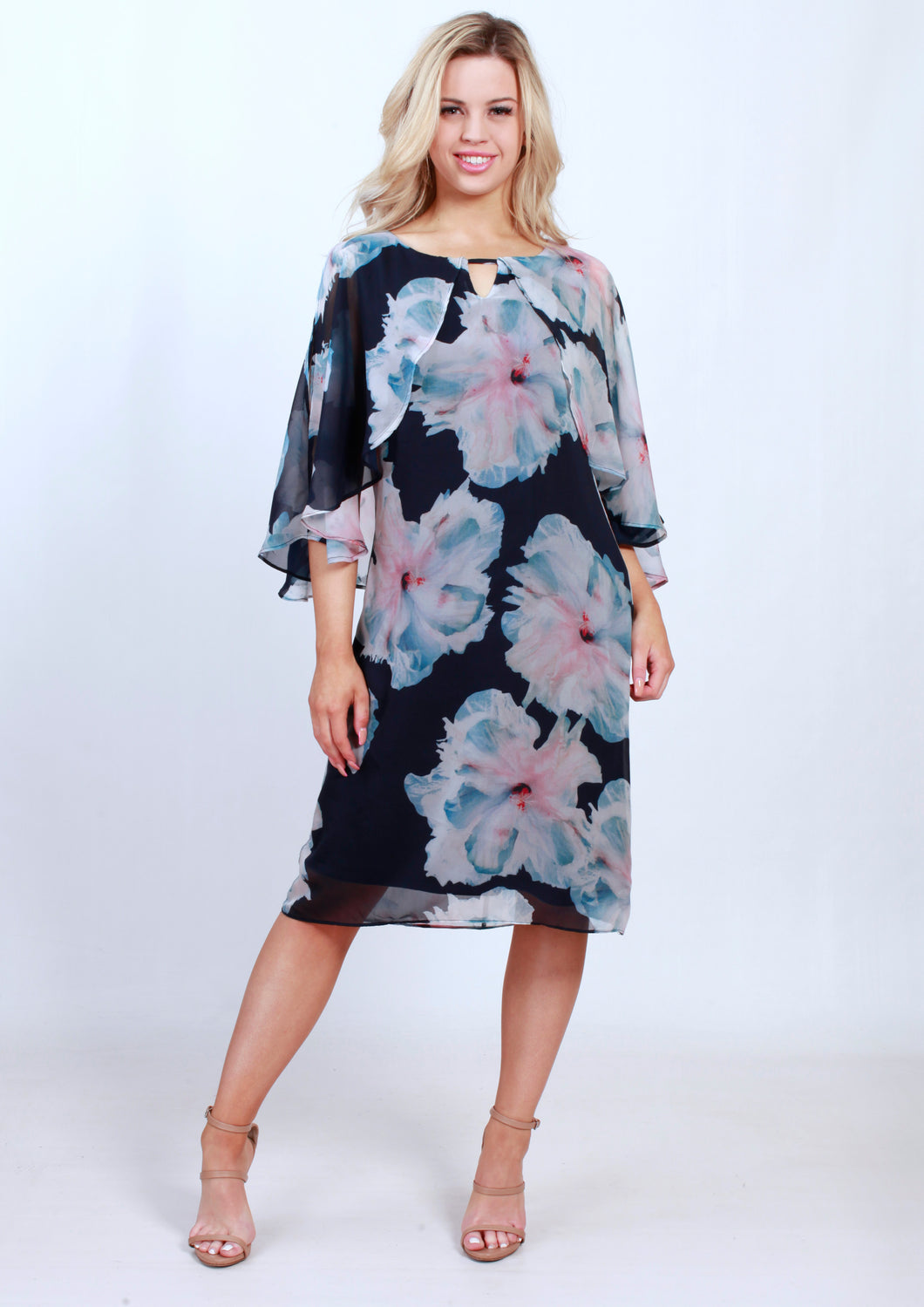 VY0386TB Caped Floral Dress (Pack) New Arrival
