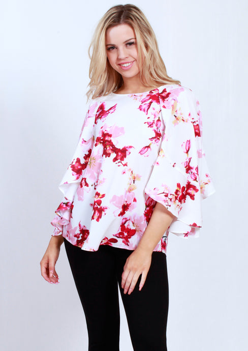 VY0396TB Floral Ruffle Sleeve Top (Pack) New Arrival