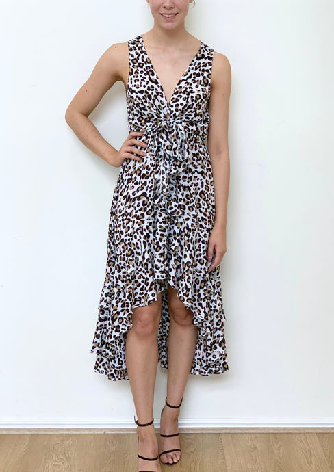 VY0341SS Leopard Printed Low V Dress (Pack) New Arrival