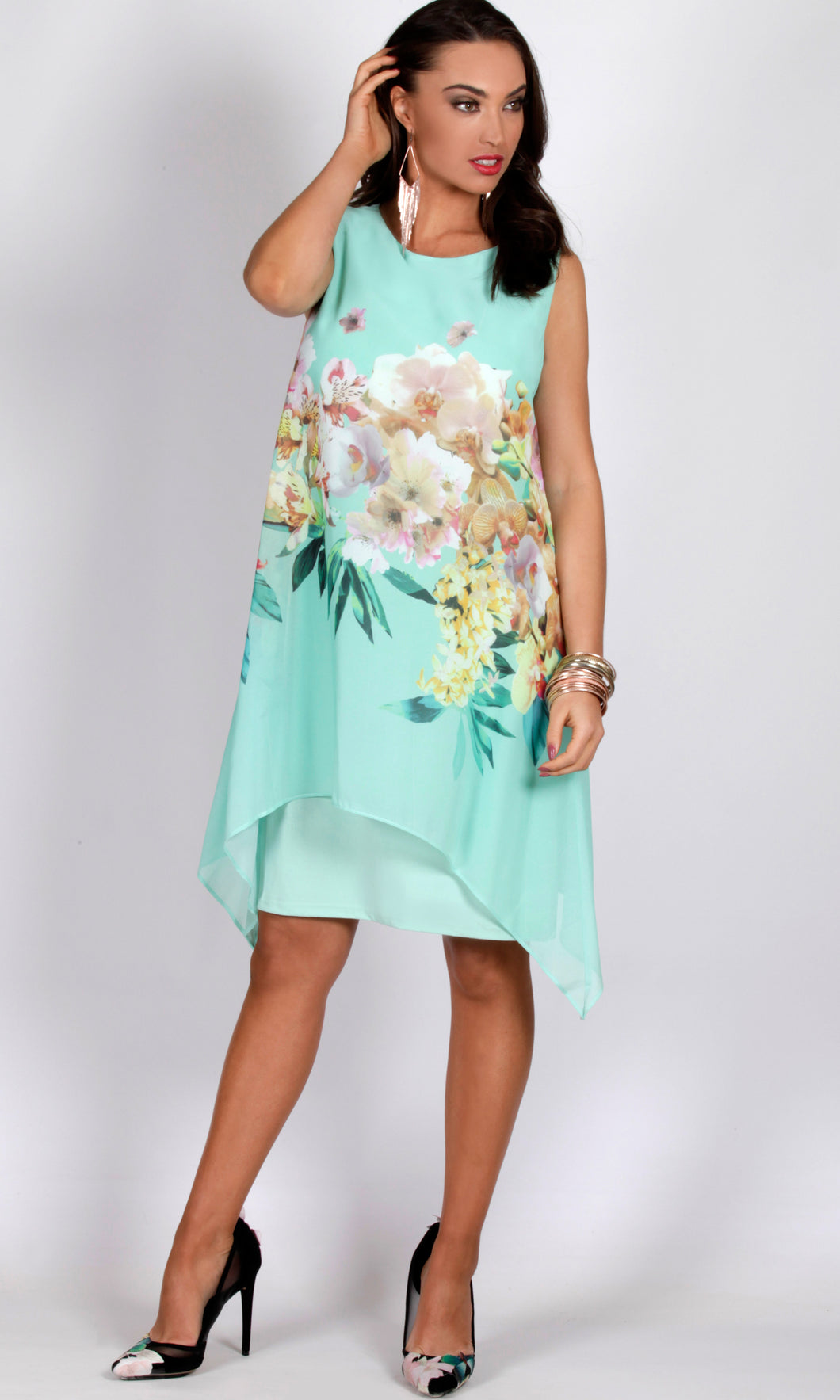BS1016049-3TB Chiffon Overlay Spearmint Floral Dress (Pack)