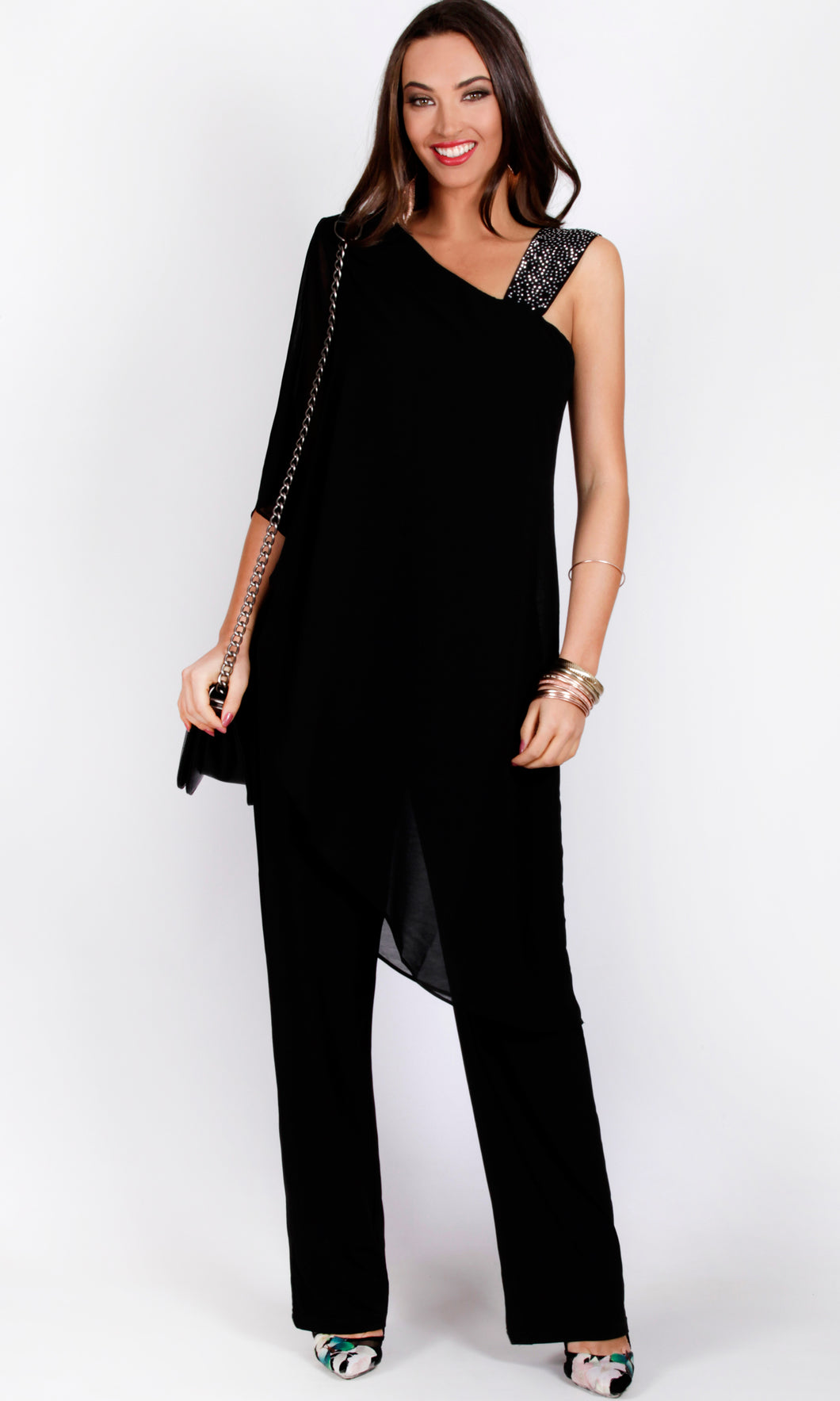BS716030-6TB ASYMMETRIC BEADED STRAP JUMPSUIT (Pack)