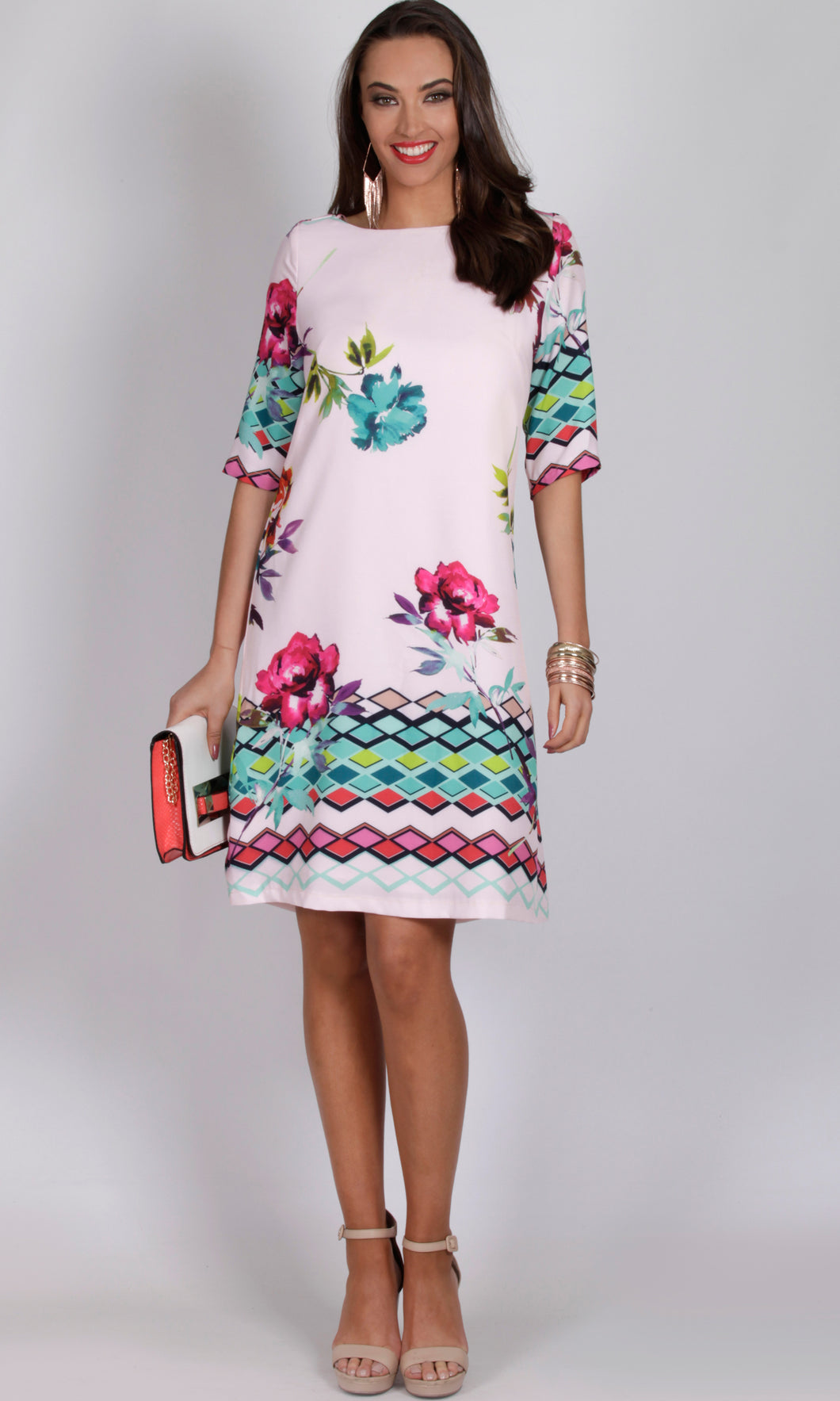 Retro 3/4 Sleeve Shift Dress