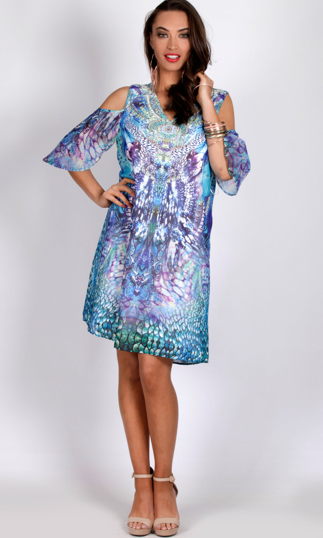 RV0991-1NC BLUE/ PURPLE TUNIC DRESS (Pack)