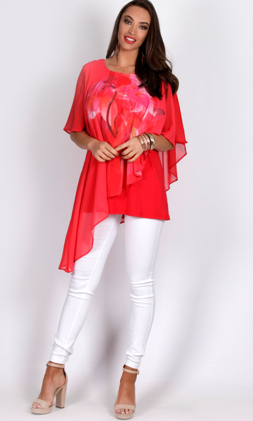 RV0392-1TB Red Floral Printed Chiffon Overlay Top (Pack)