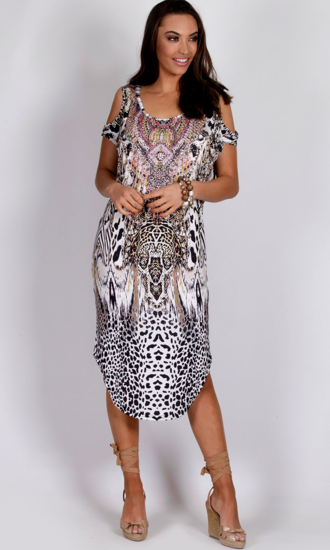 CH1070-45SS Cold Shoulder Rhinestone Embellished Animal Print Dress (Pack)