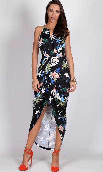 RV0255-4SS TROPICAL PRINT TULIP WRAP DRESS (Pack)