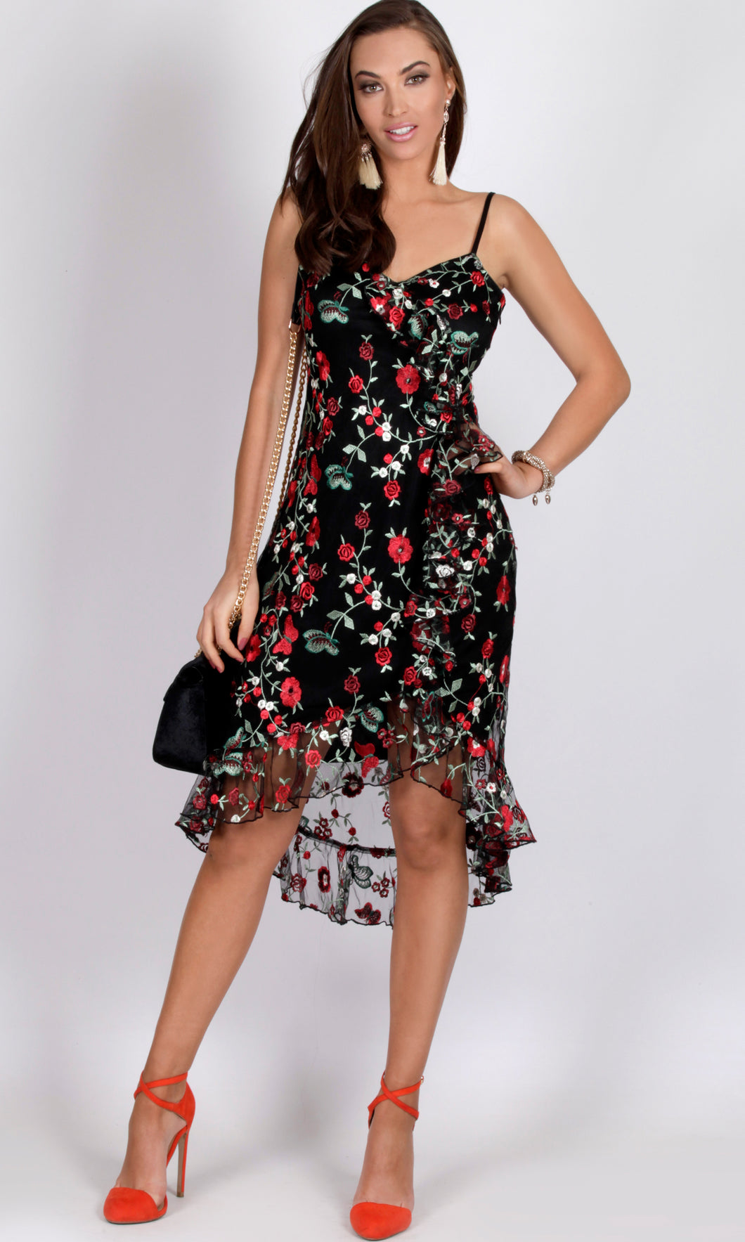 RC0830-1TE Embroidered Floral Mesh Dress (Pack)