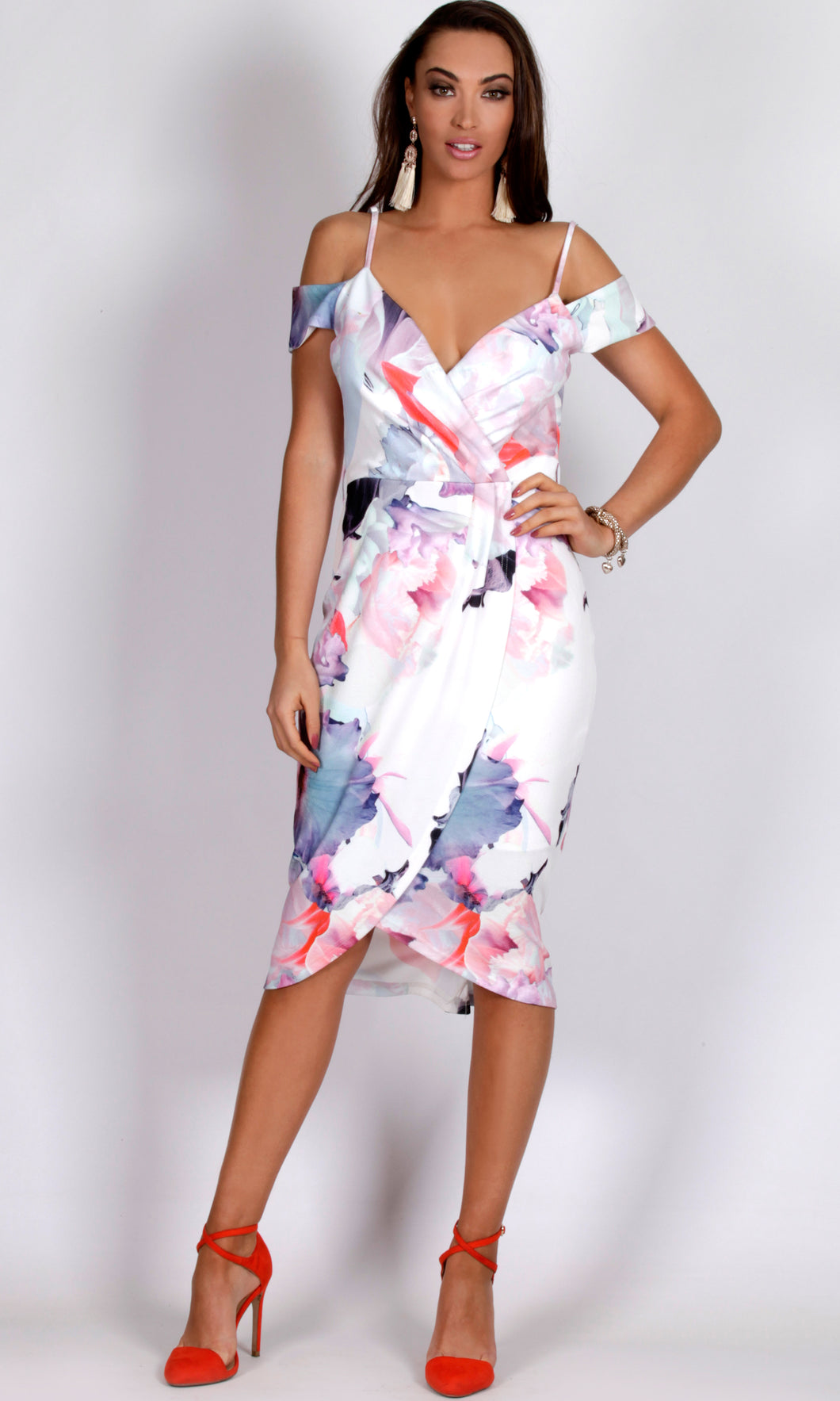 BS9160-1SS Water-Colour Tulip Midi Dress (Pack)