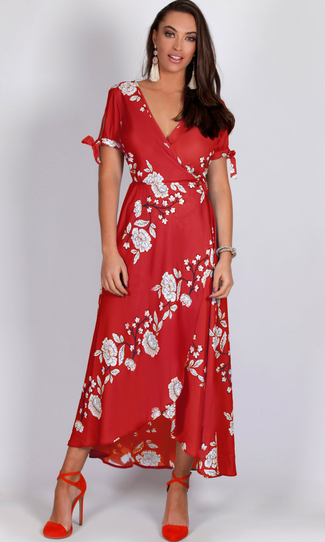 VS7245SS RED FLORAL WRAP DRESS (Pack)