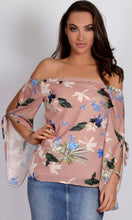 RV1045-1SS Off Shoulder Print Sandy Pink Top (Pack)