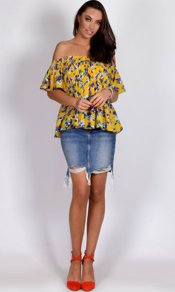 RV0932-1SS PLEATED YELLOW FLORAL TOP (Pack) On Sale