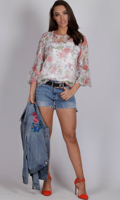 RV1075SS Floral Ruffle Sleeves Top (Pack)