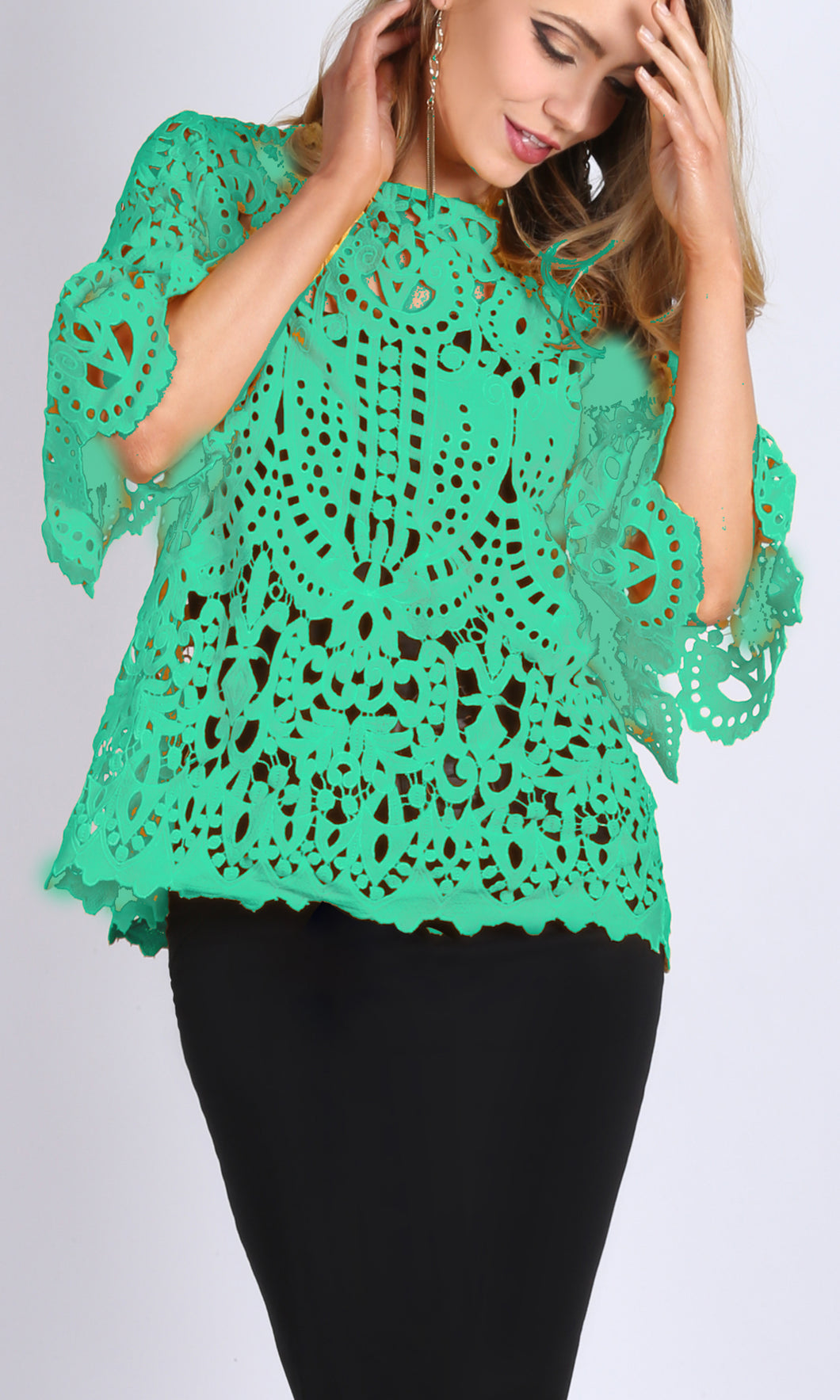 RV0832SS Green Crochet Lace Top (Pack) On Sale
