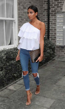 One Shoulder Loose Fit Top with Ruffles