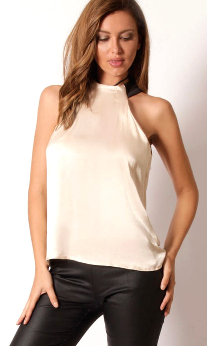 WV230SS High Neck Black Neck Band Sleeveless Top (Pack)
