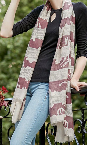L16SS Beige and Maroon Stripe Scarf (Pack)