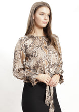 XW20195-1SS Snake Skin Printed Front Knot Top (Pack)