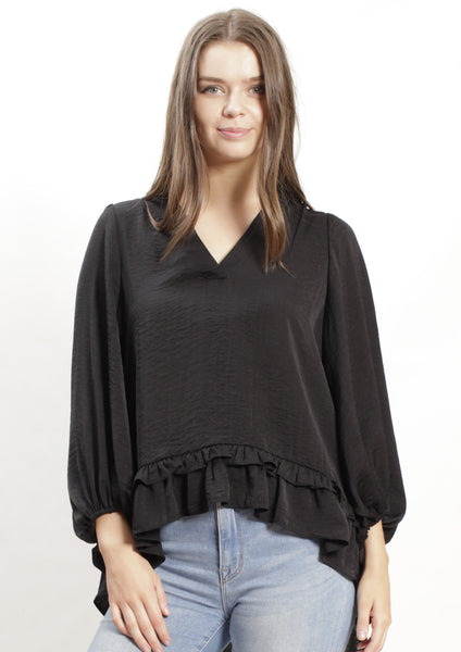 AY151SS V-Neck Top With Ruffle Hem (Pack) New Arrivals