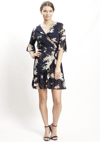 YW2343-1SS Navy Floral Wrap Dress  (Pack) New Arrivals