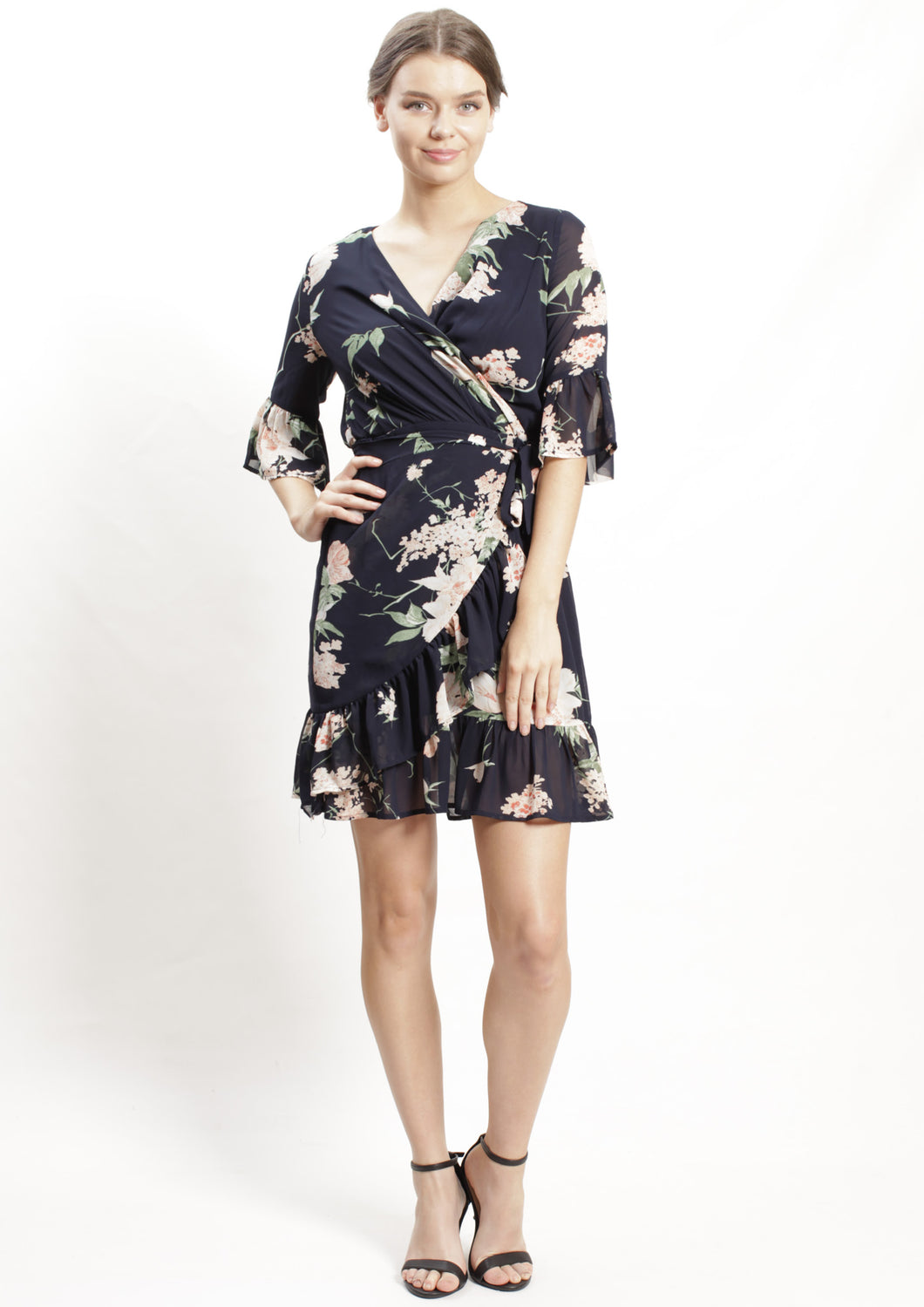 YW2343-1SS Navy Floral Wrap Dress  (Pack)