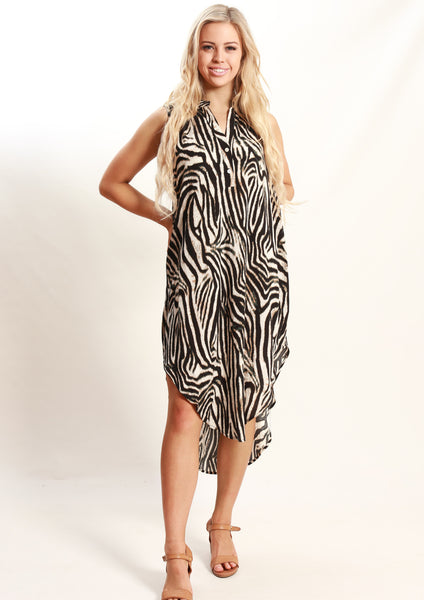 YW2336-6SS Zebra Print Mid Length Tunic  (Pack) New Arrivals