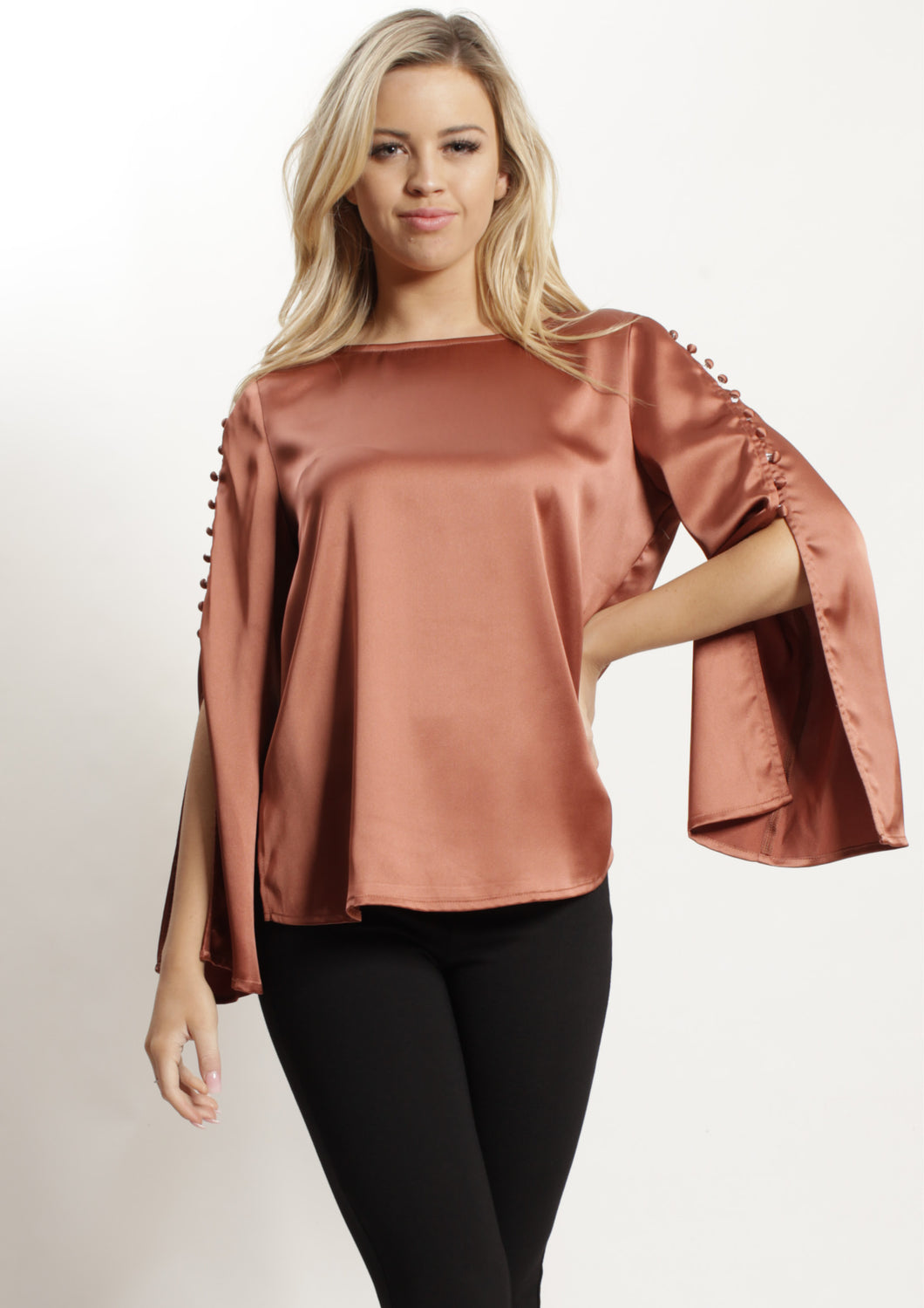 AY062SS Button Open Sleeve Top (Pack)