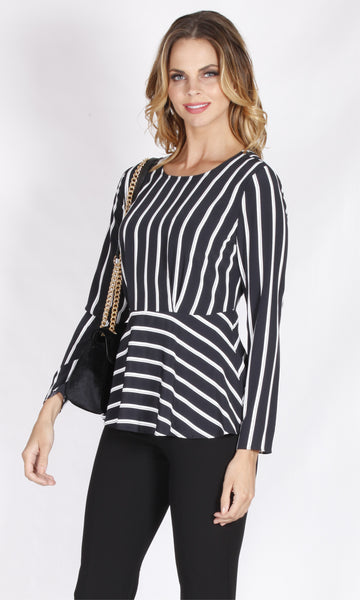 YW1761S Stripe Peplum Long Sleeve Top (Pack)