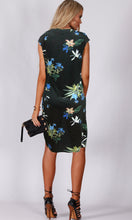 TG2462-1TB Navy Waist Gather Floral Print Knit Dress (Pack)