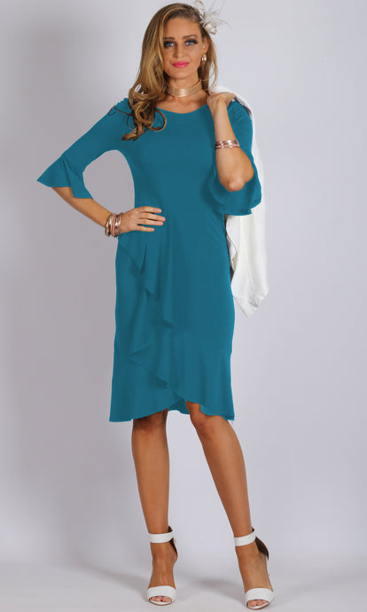 TG2479TB 3/4 Bell Sleeve Ruffle Dress (Pack) On Sale