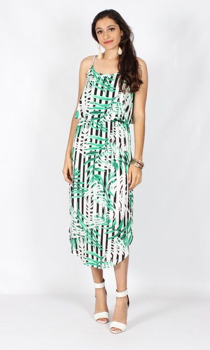 TG2516SS Bamboo Stripe Print Layered Dress (Pack)